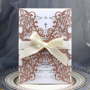 50pcs Blue Gold Silver Glitter Paper Laser Cut Wedding Invitations Card Custom Printable With Ribbon Envelope Wedding Decoration