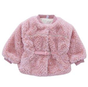 Kids beaded faux fur coat girls plush long sleeve PU belt princess outwear winter children velvet thicken warm coats Q2543