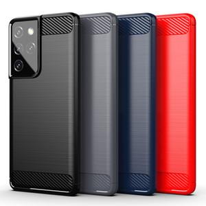 Schermo robusto SOT TPU TPU Custodie per cellulari in fibra di carbonio spazzolato per Samsung S21 S20 FE S10 Nota 20 10 9 Plus Ultra Lite