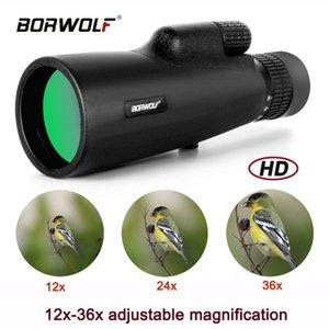2021 Borwolf 12-36X50 Binoculars BAK4 Prism Optical Lens High Power Hunting Birdwatching Monocular Light Night Vision Telescope