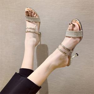 Designer Schuhe Damen Luxus Kristallschuhe 2020 Neue Transparente PVC Transparente Hausschuhe Gefrorene Sandalen Party High Heels