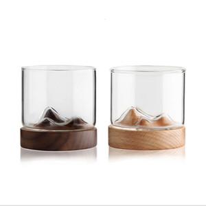 5 унций горного вина стеклянная кружка с деревянным китайским чаем кружка нижний виски стекло японский домашний чай чашка чашка