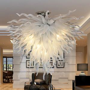 Lâmpada do teto do candelabro de vidro contemporânea lâmpada do teto do lâmpada do diodo emissor de luz do diodo emissor de luzes do pingente de luminária branca colorida Custom Candeleiros Iluminação para a sala de estar