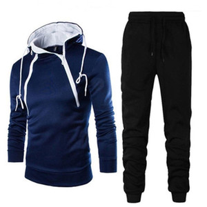 Man Spring Casual Fitness Tracksuits Mens Contrasting Color Sets Fashion Trend Long Sleeve Double Zipper Hooded Sweatshirt Pant Sports Suits