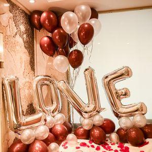 32 بوصة الأبجدية إلكتروني الحب الفضة الذهب روز الذهب اللون احباط بالون القلب الهيليوم لحضور الزفاف عيد الحب حزب الديكور GWD4826