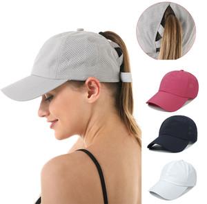 8 Colors Women Ponytail Baseball Cap Criss Cross Ball Caps breathable mesh ponytail Hats Summer Hat Sport Outdoor Visor Cap M3335