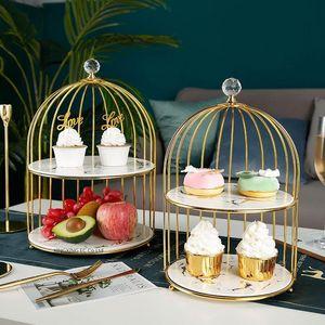 Golden Marble Tableware Dessert Plate Ceramic Double Cake Tray Cosmetic Desktop Storage Tray Afternoon Dessert Display Rack