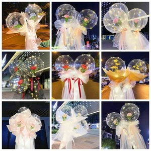 Diy Led Light with Rose Balloons Birthday Mothers Day Gift wedding Decoration Clear Balls Led Luminous Balloon Rose Bouquet