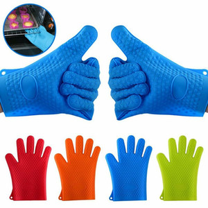 New Silicone BBQ Gloves Anti Slip Heat Resistant Microwave Oven Pot Baking Cooking Kitchen Tool Five Fingers Gloves WWA156