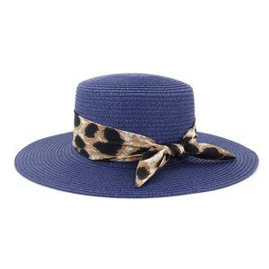Women Beach Hat Straw Hats Woman Sun Protection Cap Girls Wide Brim hat Leopard bowknot caps Ladies Fashion Travel Chapeau Spring Summer NEW