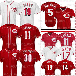 19 조이 votto 5 조니 벤치 저지 14 피트 로즈 11 Barry Larkin 30 Ken Griffey JR 17 Chris Sabo Cincinnati Mens Baseball Jerseys