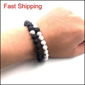 2pcs set 8mm White Howlite Stone And Volcanic Rock Lava Stone Beads Bracelets Set For Women Men Stretch qylzww new_dhbest