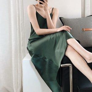 2020 Sommer Neue Kommen Frauen Satin Camis Sexy Kleid A-Line Solid Sleeveless Mid-Calf High-Taille V-Ausschnitt Französische Bottoms 210222