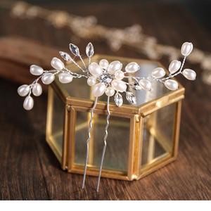 Ailibride 2 Pcs Wedding Pearl Hair Pins Hair Accessories Women Bridal Headpiece Handmade Hair qylkhE