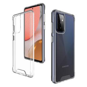 Прозрачное пространство Прозрачное ShcoRPoof Clear Acrylic HRAD Телефон для Samsung A72 A52 A42 A32 A12 A51 A52 A42 A22 A12 A51 A71 5G A02S A11 A21S A31 A20S A10S A02 Silver Botton Cover