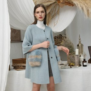 Giacca invernale Donna Casual Wool Blends 2019 Real Fur Coat Ladies La lana biaderale Cashmere Real Pelly TaskCoat1