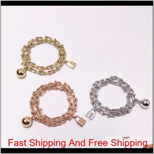 The Letter T And U Shaped Chain Head Lock Head Ball Double Circle Twisted Titanium Steel Bracelet Gxyp0 Hbreo