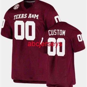 مخيط مخصص تكساس am aggies جيرسي إضافة أي اسم رقم 2 أنماط الرجال النساء الشباب كرة القدم جيرسي XS-6XL