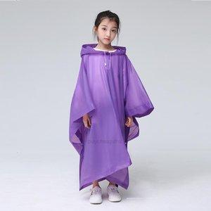 Regenwarken-Mode-Kapuze-Haube-Kunststoff-Einweg-Poncho einteiliger Regenkleidung Klares Kind Regenmantel Reiselager Hiki XHSI3P