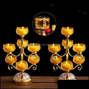 Décor Home & Gardenbuddhist Glazed Candlestick Household Butter Lamp Holder Lotus In Front Of Buddha Candle Holders Drop Delivery 2021 Jqhq8