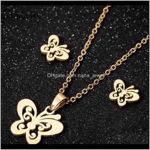 Butterfly Necklaces Earrings Sets Gold Stainless Steel Jewelry Set Cute Animal Stud Earings For Women Best Friend Jewelry Gift So78I Nthz5