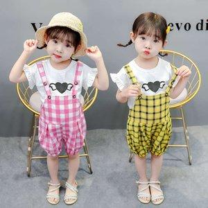 الفتيات قصيرة الأكمام الصيف ملابس الأطفال الجديدة الكورية تي شيرت تنوعا شعرية حزام السراويل