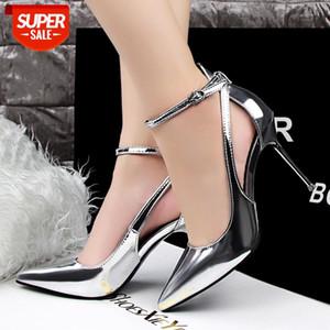 2020 Women 9.5cm High Heels Fashion Leather Fetish Silver Pumps Female Quality Scarpin Hollow White Shoes Lady Sexy Strap Pumps #2l1W