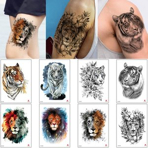 Animal Tattoo Transfer Paper Tiger Wolf Design Temporary Body Art Tattoo Sticker for Woman Man Arm Back Makeup Cartoon Colored Drawing Decal