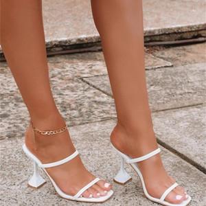 Brand Women Summer Outdoor Sandal High Square Heel Flip Flop Ladies Women Slipper Elegant Women Slides Shoes 210226