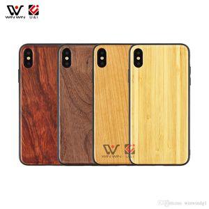 Boîtier de téléphone portable en bois vierge Logo Personnalisé Résistant pour iPhone 7 8 9 11 Plus x XR XS Max