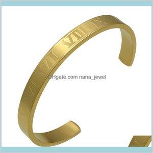 Roman Numerals Cuff Bracelets Wide And Thin Version Of The Same Star Couple Bracelet Fashion Opening Titanium Steel Bracelet Jewelry 3 Lz7Oc