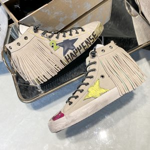 Italy Brand old star graffiti small dirty shoes women's 2021 new net red tassel breathable cow leather high top baskets Golden Star Sneakers Super Star dirty shoes