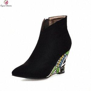 Оригинальные намерения Новый дизайн клинья заостренные носки короткие сапоги женщины ботильоны черные зеленые фиолетовые orage сексуальные красочные туфли F7HQ #