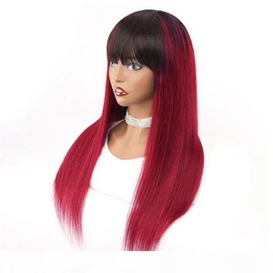 Red Ombre Wig 150% Natural Human Hair Glueless Straight Raw Indian Remy Non Lace Wig For Black Women Cheap Burgundy Colored Wig With Bangs