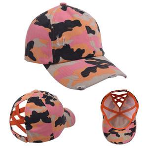 Camuflaje cola de caballo gorra de béisbol tejido criss cruz lavado bolas tapa patrón moda camuflaje alto desordenado sombrero suplie mar marítimo llama343