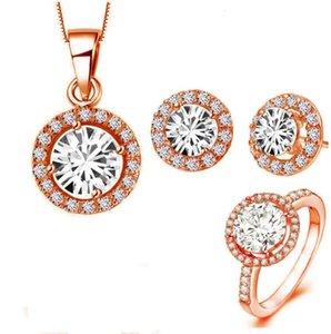 Popular Jewelry Bracelet Heart Eight Arrow Zircon Earrings Necklace Ring Three Piece Set Shengguang 1127