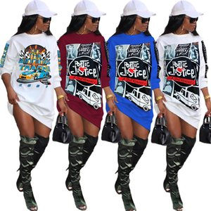 Women Dresses Sexy Long Sleeve Letter Print Sports Skirt Designer T Shirts Dress Fashion Casual Printed Ladies Clothing Plus Size S-4xl 883