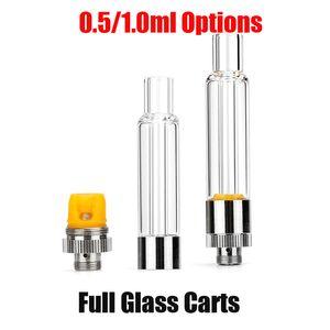 New Full Glass Vape Cartridge 0.5ml 1.0ml Ceramic Coil Vaporizer Carts for Thick Oil Bottom Refilling 510 Thread Vapor Tank