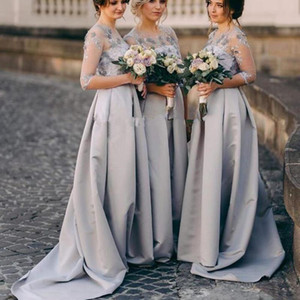Gray Satin Bridesmaid Dresses Long 2021 Boho Country Half Sleeves 3D Floral Lace Appliques Maid Of Honor Gowns Wedding Guest Dress AL8643