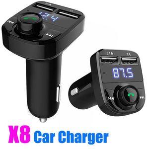 X8 voiture Emetteur FM émetteur Aux Modulator Kit voiture Bluetooth Mainsfree Audio Récepteur MP3 Lecteur MP3 avec 3.1A Sortie Charge rapide Dual USB Car C Pas de boîte