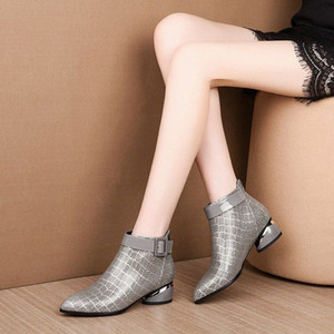 Pointed Toe Low Heel Ankle Boots Women Snake Print Ankle Boots Women Short Booties For Ladies 2019 Winter Shoes Woman Y68G#