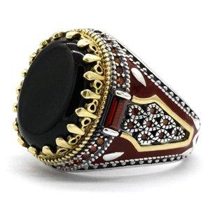 Турция Ювелирные Изделия Мужские кольца с черным натуральным агатом Камень 925 Стерлингового серебра Винтаж король Корона CZ Красные эмальские кольца для мужского пола