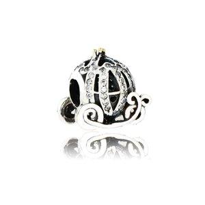 Bracelet Pandora DIY Fit Authentique 925 Sterling Sterling Cendrillon Cendrillon Cordillon Carroskin Charm Perle avec Cle CZ pour la fabrication de bijoux