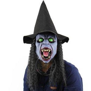 Cadılar bayramı Bar Headmask House Cadı Öfkeli Yeşil Sahne Uzun Saç Balo Fangs Gözler Maske Pratik Cadılar Bayramı Perili Joke Amqrs