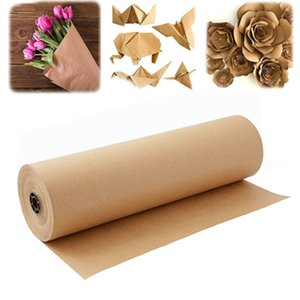 1roll kraft gift wrapping paper handmade art painting vintage flowers packing decoration