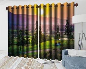 3d Living Room Curtain Green Rural Landscape 3d Curtains Romantic Landscape Modern Decoration 3d Blackout Curtains