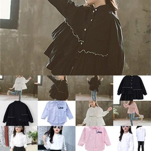 Teenage Blouse For White School Girl Cotton Ruffles Solid Toddler Kids Blouses and Shirts Children Boutique Tops Clothing 12 13Y C1031 YCMI