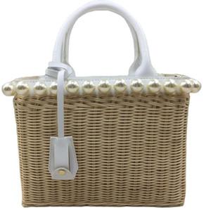 2021 new women's handbag rattan pearl bag