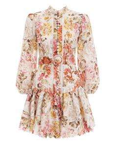 New Designer Elegante Donne Delle Donne Dress Dresses Manica lunga Single Breasted Flora Stampato Abiti Slim mini Beach Abiti con cintura Vestidos M24