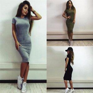 Сексуальные женщины одно цельные платья лето повседневная короткая рукав мини-юбка скинни длина до колена платье женская одежда серая армия зеленый S-XL